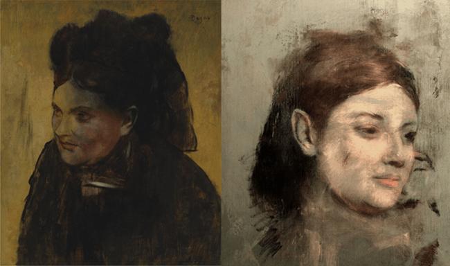 Слева— «Женщина вчерном капоте», справа— «спрятанный» под ним портрет. Изображение: David Thurrowgood at al / Scientific Reports