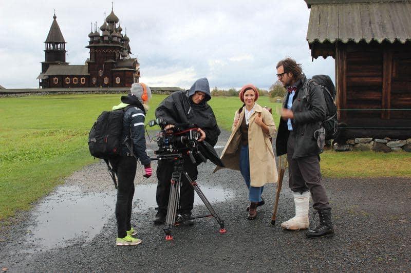 Шведская съемочная группа на острове Кижи