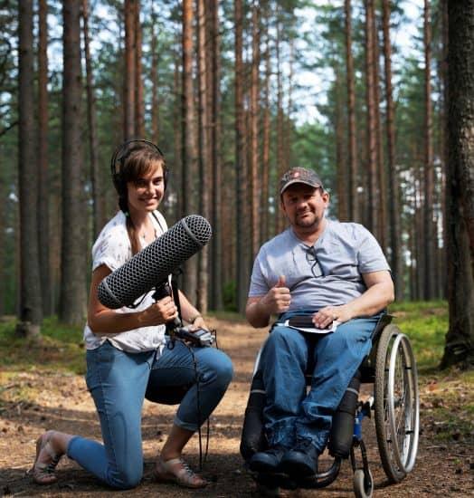 Владимир Рудак и член съемочной группы Варвара Самаркина